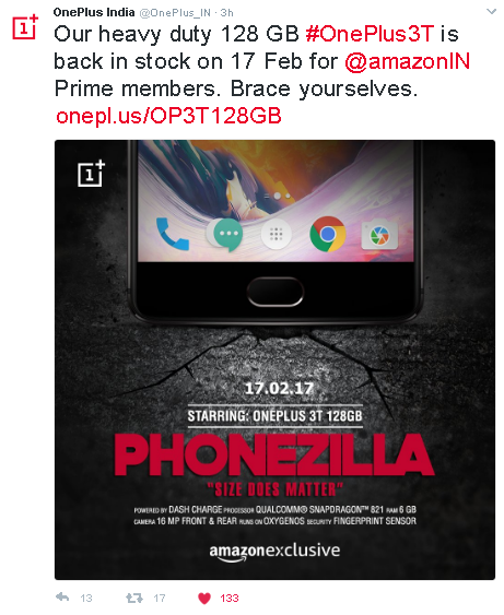 OnePlus India Tweet for OnePlus 3T 128GB variant