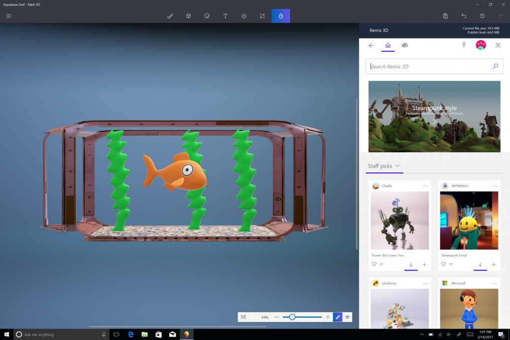 Windows 10 Creators Update 3D Paint